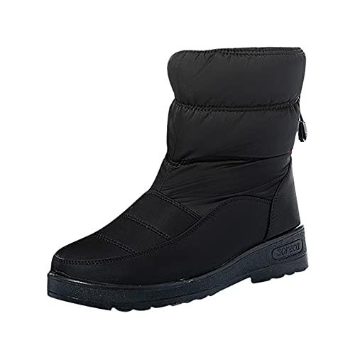 YWLINK Zapatos De AlgodóN Botas De Nieve Para Mujer Invierno Botas De Lluvia De Piel Botas Impermeables Para Caminar Senderismo Botas Cortas CáLidas Botas Con Plataforma Y Felpa (Negro, 36)