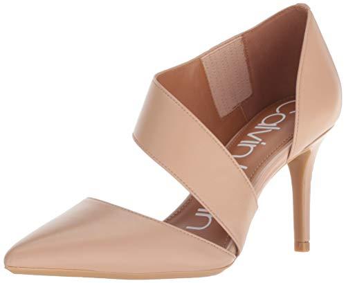 Calvin Klein Women's Gella Dress Pump, Desert sand leather, 7 Wide US