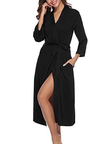 Abollria Bata para Mujer Algodón con Escote en V Albornoz de Kimono de Mujer Ropa de Dormir con Cinturón Negro,L