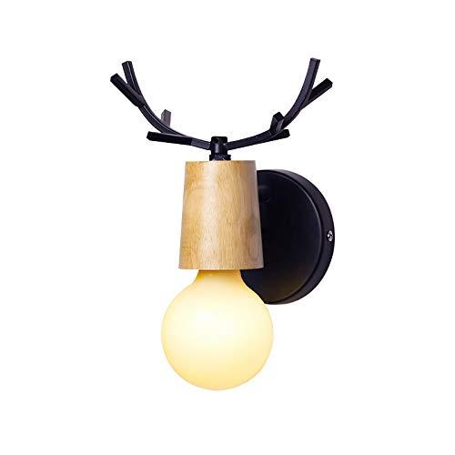 FJROnline - Lámpara de pared con diseño de cuerno de ciervo (metal), color plateado, hierro fundido madera hierro, negro, Wooden