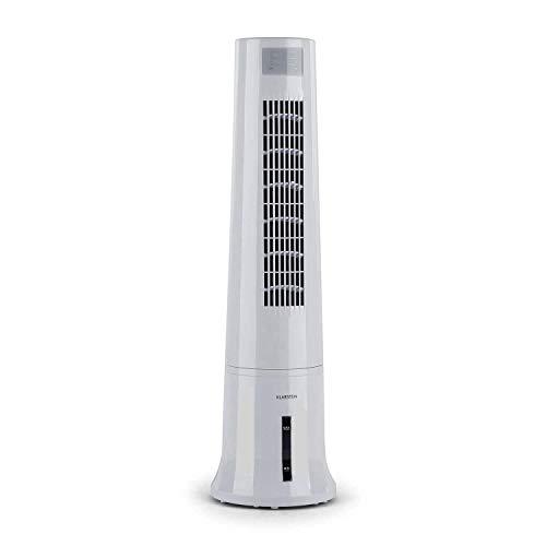 KLARSTEIN Highrise - Enfriador de Aire 3 en 1, Caudal 530 m³/h, 35 W, Oscilación, 3 Modos de Funcionamiento, Depósito 2,5 L, Filtro Desmontable, Temporizador, Panel de Control táctil, Blanco Hueso