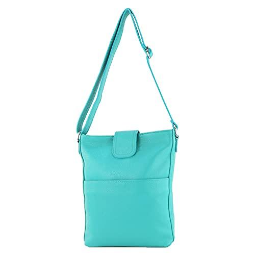 modamoda de - T224 - Bolso de hombro italiano de piel, azul turquesa, Medium