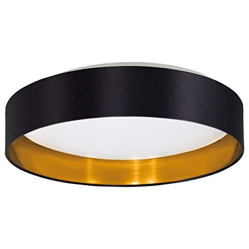 EGLO LED Deckenlampe Maserlo, 1 flammige Textil Deckenleuchte, Material: Stahl, Stoff, Kunststoff, Farbe: schwarz, gold, weiß, Ø: 40,5 cm