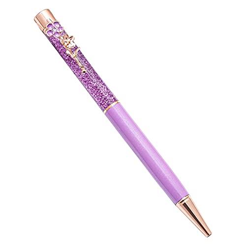 Bolígrafo de arena movediza líquida con decoración de flores Pluma de aceite de metal papelería bolígrafos de colores