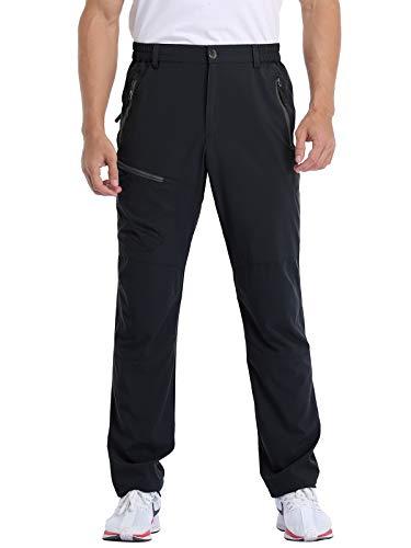 MOCOLY Men's Cargo Hiking Pants Elastic Waist Quick Dry Lightweight Outdoor Water Resistant Long Pants UPF 50+ Black M