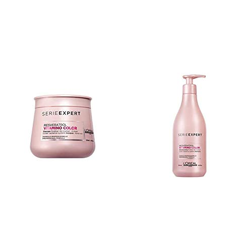 L'Oréal Professionnel, Champú Vitamino Color 500 ml + Mascarilla Vitamino Color 250 ml para Cabellos teñidos