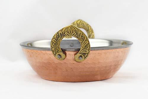 Hostelnovo - Bol con Asas para Comida India - Bol Karahi - Amartillado en Cobre de Acero Inoxidable - Asas con Forma de Herradura en Miniatura - Vajilla India - 15 x 5,5 cm