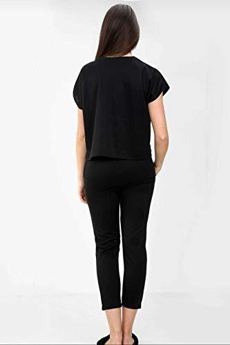 New Women Ladies Vogue Print Short Sleeve Baggy Top Bottoms 2 Pcs Co-Ord Set Boxy Loungewear Tracksuit (S, Black)