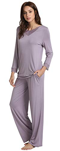 WiWi Soft Bamboo Long Sleeve Sleepwear Laced V Neck Pjs Stretchy Pajama Set Top with Pants Plus Size Loungewear S-4X, Violet, Small