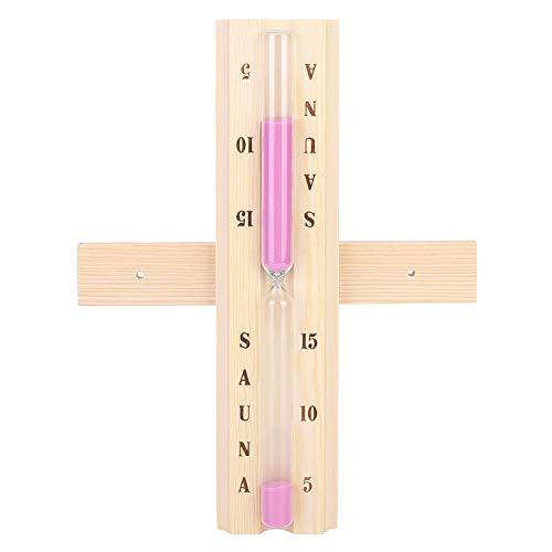 GAESHOW Saunaausrüstung 15 Minuten Holz Sauna Sanduhr Uhr Sanduhr für Sauna Spa Room Glas