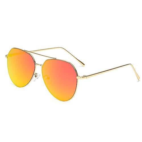 HaoHe Gafas de sol Europa y Estados Unidos. Gafas de sol metálicas de moda para hombres y mujeres. Revestimiento plano. Sol. Reflexión. Color. Marco dorado. Película roja C6, CE9980-L.