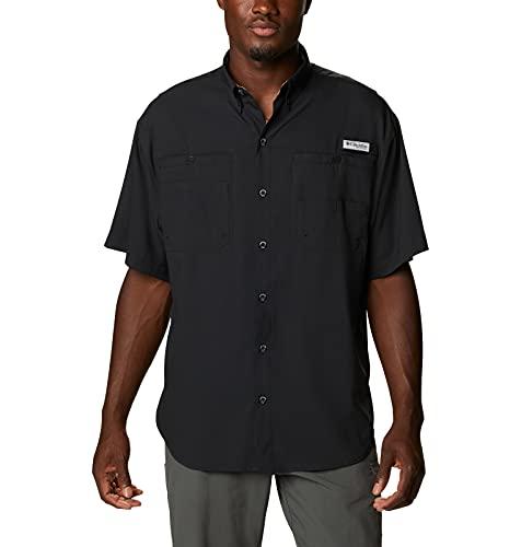 Columbia Tamiami II - Camisa de Manga Corta para Hombre de Manga Corta Tamiami II, Hombre, Tamiami II Camisa De Manga Corta, 128705, Negro/Realtree Edge, 4X Tall