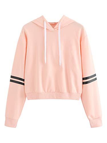 MAKEMECHIC Women's Casual Striped Long Sleeve Crop Top Hoodies Pullover Sweatshirt Light Pink M