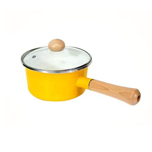 ZRJ Olla Cacerola Recubrimiento Pequeño Pequeño con Tapa de Vidrio Manilla de Madera Maciza Pan para la Cocina para la Cocina o el Restaurante del hogar Cacerola (Color : Yellow)