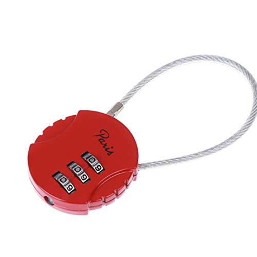 ZSDFW Candado de combinación para equipaje, con combinación de dígitos y contraseña, para bolsa de viaje, traje, casilleros, gimnasio, antirrobo, color rojo