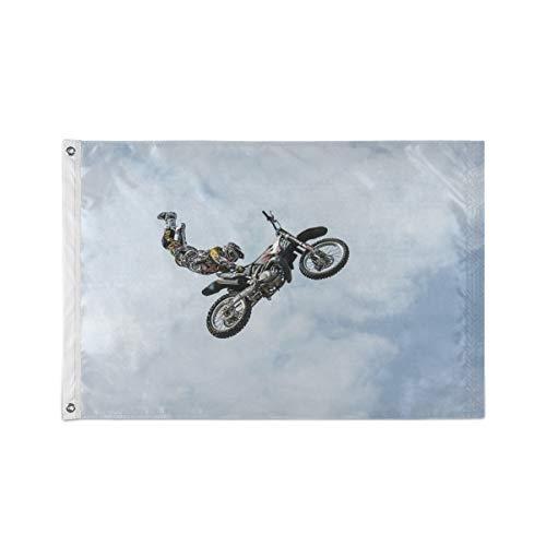 FANTAZIO Gartenflagge Biker Moto Akrobatik Fahne