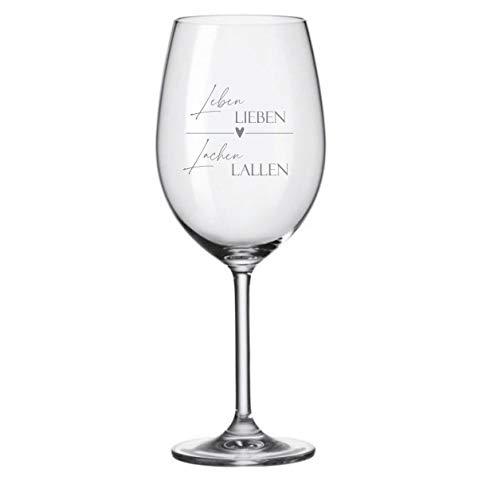 KT-Schmuckdesign Weinglas Leonardo - Leben Lieben Lachen Lallen - Geschenkidee Gravur individuell Leonardo Glas Geburtstagsgeschenk