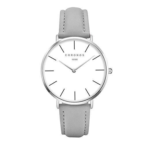 Relojes Mujer y Hombre Ultradelgado Cuero Clásico, Gris-Plata