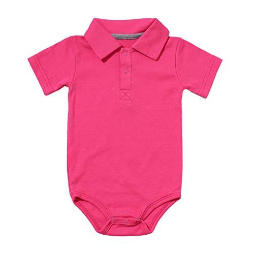0-24M Neugeborene Babykleidung,Kleinkind Jungen Kurzarm Gentleman Kleidung Baby Sommer Outfit Baby Schlafanzug(Pink,18-24 Monate)