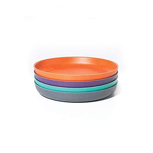 BIOBU by eKOBO 34550 bambino set 4 assiettes bleu ciel/orange/prune/gris