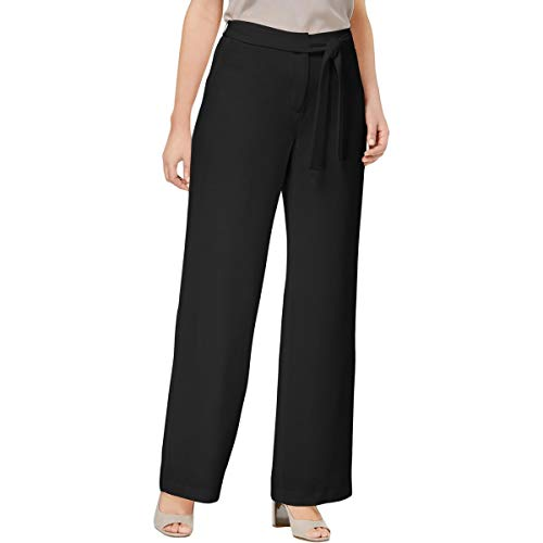 Alfani Womens Wide-Leg Tie-Front Dress Pants Black 4