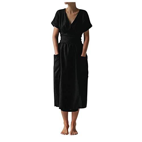 Damen Baumwoll Leinen Langes Kleid Lässig Einfarbig Kreuz V-Ausschnitt Kurzarm Kleid mit Taschen und Gürtel(XL,Schwarz)