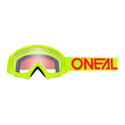 O'NEAL | Fahrrad- & Motocross-Brille | Kinder | MX MTB DH FR Downhill Freeride | Hochwertige 1,2 mm-3D-Linse für ultimative Klarheit, UV-Schutz | B-10 Youth Goggle SOLID | Neon-Gelb-Rot | One Size