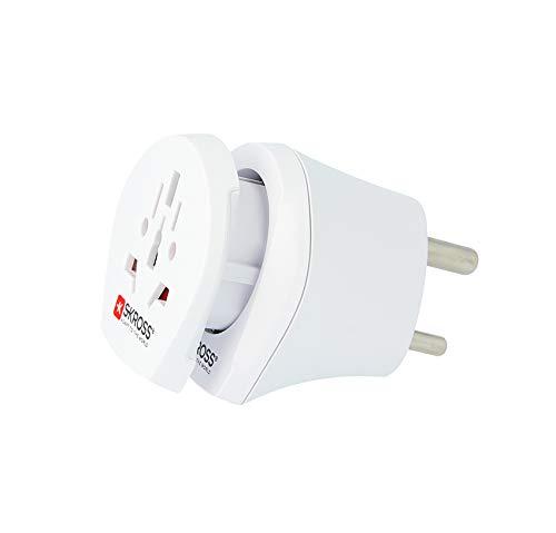SKROSS   Combo World to India   2in1 Reisestecker - Reiseadapter zur Anwendung von Geräten mit Schuko- oder Eurostecker in Indien/Extra Adapteraufsatz für Internationale Geräte in Europa und Indien