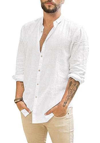Gemijacka Leinenhemd Herren Hemd Herren Langarm Sommerhemd Herren Regular Fit Freizeithemd, Weiß, M
