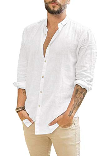 Mens Linen Shirts Long Sleeve Casual Button Up Loose Fit Beach Summer Shirts