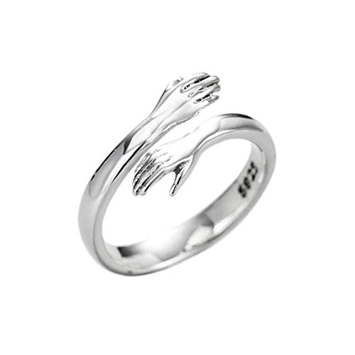 QDPJ Hugging Hands Anillo Ajustable de Plata esterlina, Give Me A Hug Ring, 925 Silver Love Hug Hands Anillo Ajustable de Talla única para Mujeres y Hombres (1pcs)