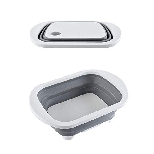 HAOXIANG Tabla de Cortar Plegable, Tabla de Cortar de plástico, Multifuncional Drenaje Basket, Fregadero Tabla de Cortar Plegable integrada de hogares Tabla de Cortar