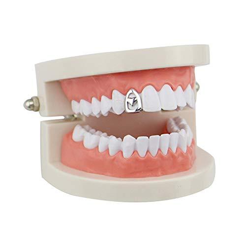 Tanden Grills Dental Hollow Single Tooth Caps Top & Bottom, Mannen Hip Hop Vampire Tooth Grillz Bretels, Rapper Halloween Cosplay Feestdecoratie Sieraden