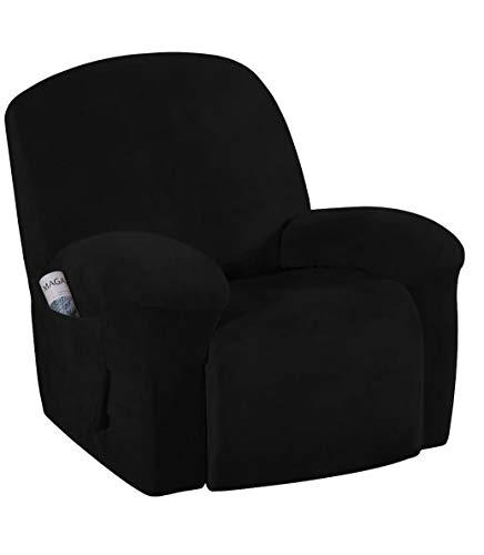 E EBETA Samt-Optisch Stretchhusse für Relaxsessel Sesselbezug, Komplett Sesselschoner, Elastisch Bezug für Fernsehsessel Liege Sessel (Schwarz)