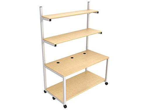 "Hot Sale LAN Computer Rack 60""x30"" - Gray Frame, Maple Surface"