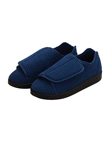 Silverts Mens Extra Extra Wide Slippers with Adjustable Closures