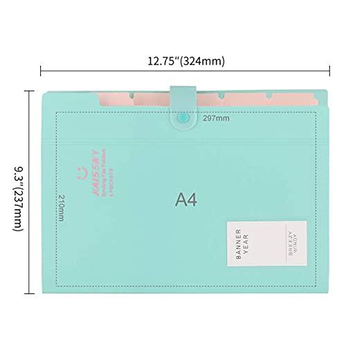 Expanding File Folder 6 Pockets, Guzack Accordion Document Folder Organizer A4 Letter Paper File Organizer Pockets, Expandable Files Folders with Buckle Closure for School Office Home ( Green ) Photo #2