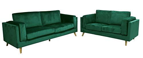 HABITMOBEL Conjunto de sofás TONINO, 3 y 2 plazas, Terciopelo Verde