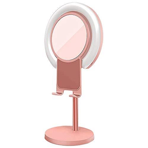ZJING Luz de Llamada con Soporte de teléfono y Espejo de Maquillaje, con Modo de 3 Colores y 10 de Brillo, luz LED de Llamada para Maquillaje, transmisión en Vivo, Selfie, Video Chat, Vlog