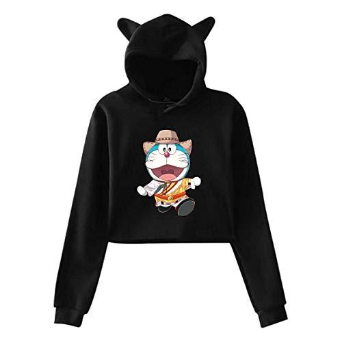 Ahdyr Lady Doraemon Cowboy Umbilicus Hooded Cat 'S Ear Hoodie Gris