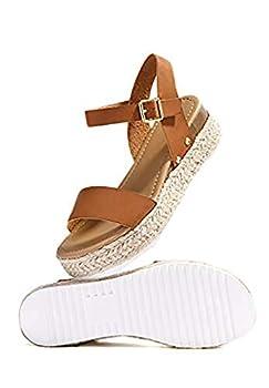 Soda Womens Casual Clip Espadrilles Trim Flatform Studded Wedge Buckle Ankle Strap Sandals,Clip-Tan,6