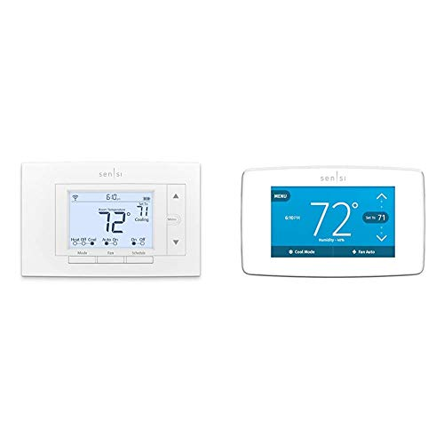 Emerson Sensi Wi-Fi Smart Thermostat for Smart Home, DIY, Works with Alexa, Energy Star Certified & Touch Wi-Fi Smart Thermostat with Touchscreen Color Display, Energy Star Certified, C-Wire Required