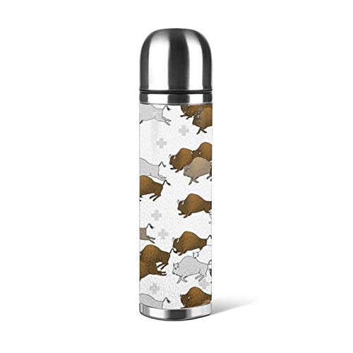 Bison Buffalo Stampede Water Bottle Stainless Steel, Double Wall Vacuum Cup Leak Proof Travel Coffee Mug Leather Cover Pu Leather -  JASMODER