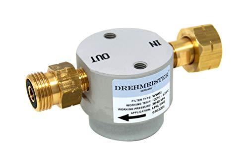 Drehmeister Gasfilter Smart Filter für Gasflaschen W21,8 x 1/14 LH - Flaschenfilter (LPG, CNG, Propan, Butan) für Caravan, Camper, Wohnwagen, Grill, Gasküche oder Gabelstapler