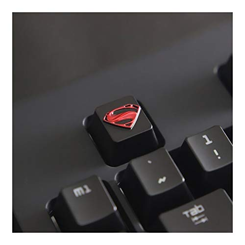 ScottDecor Tastaturplatte 108 Tasten 1pc Verzinkte Aluminiumlegierung ZNAL903 Key-Kappe for DC Superman Logo Mechanische Tastatur Stereoscopic Relief Keycap R4 Höhe (Color : Black)