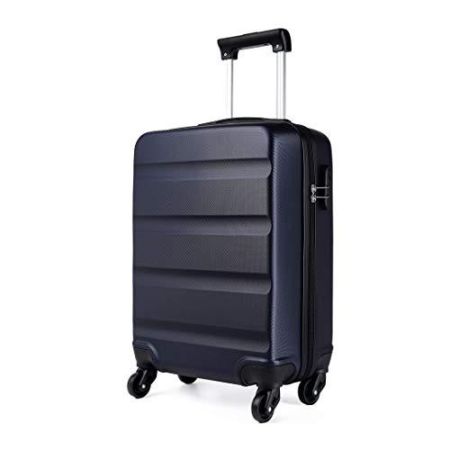 Kono Maleta para Equipaje de Cabina Ligera Trolley de ABS con Ruedas de 55 x 38 x 20 cm, Azul Marino