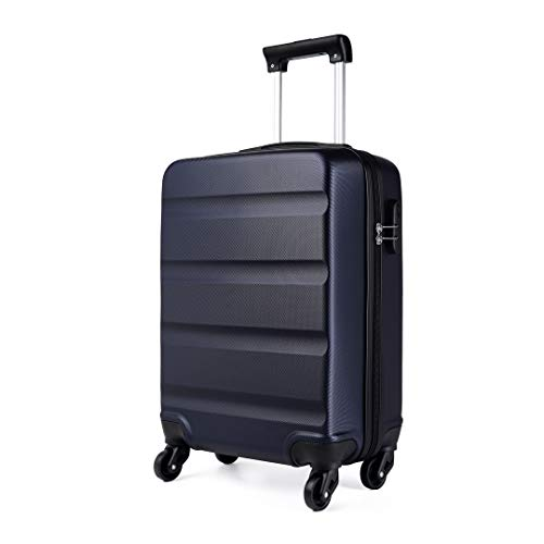 Kono Cabin Luggage Hard Shell ABS Carry-on Suitcase with 4 Spinner Wheels and Dial Combination Lock(Navy)