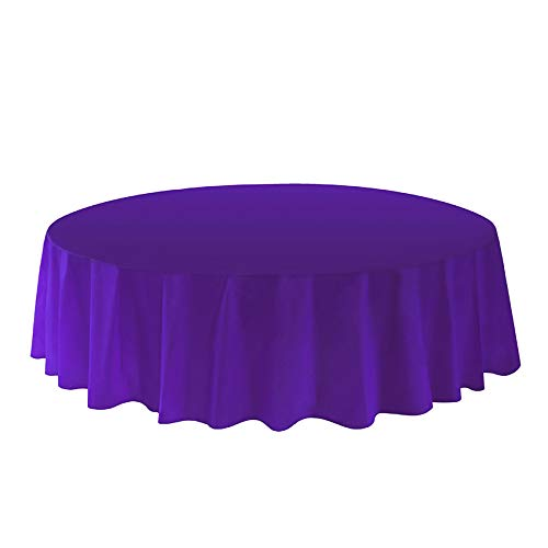 Allgala 6-Pack Premium Plastic Table Cover Medium Weight Disposable Tablecloth-6PK Round 84'-Deep purple-TC58617