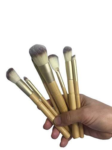 7-delige make-upkwastenset met kwasthouder voor losse poeder, oogschaduw, rouge, bamboe, massageroller Jade kwarts, verjongt je gezicht en hals en ogen. Celeste Y Blanco