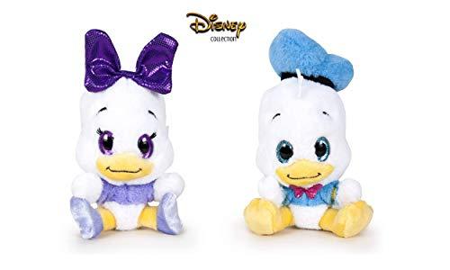 Famosa Softies - Pack de 2 Peluches Donald et Daisy Glitzies 6'29 '/ 16cm Qualité Super Douce 760016319